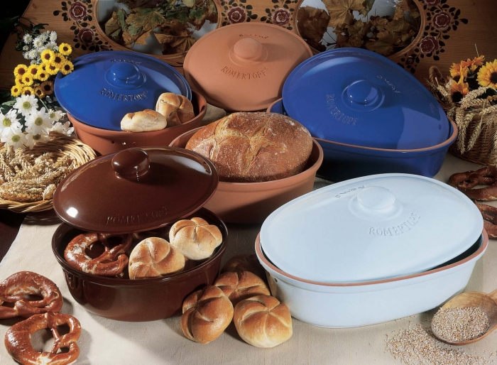 Хлебница керамическая круглая белая Roemertopf