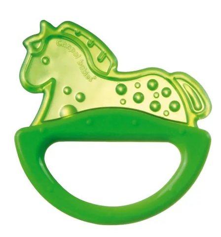 Погремушка с эластичным прорезывателем, 0+ (зеленый, форма: лошадка)