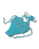 Купальник вязаный - Бирюзовый. Одежда для кукол, пупсов и мягких игрушек.