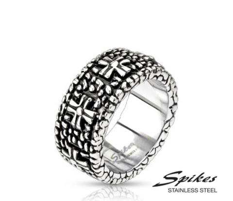 Массивное мужское кольцо «Spikes» с рельефным рисунком