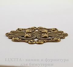 Винтажный декоративный элемент - штамп 70х48 мм (оксид латуни)