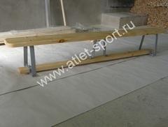 Скамейка гимнастическая на металлических ножках 1.5м (массив дерева).