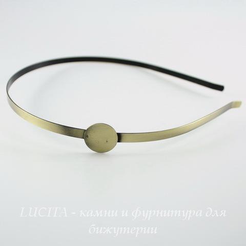 Ободок для волос с площадкой для кабошона 15 мм (цвет - античная бронза)
