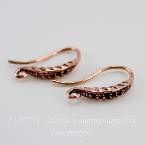 Швензы - крючки с узором, 18 мм (цвет - античная медь), пара