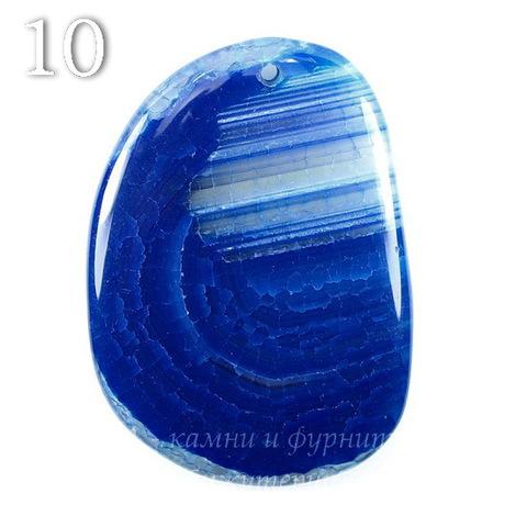 Подвеска Агат Крэкл (тониров), цвет - темный синий, 49-65 мм (№10 (56х40 мм))