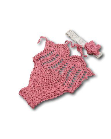 Купальник вязаный - Розовый. Одежда для кукол, пупсов и мягких игрушек.