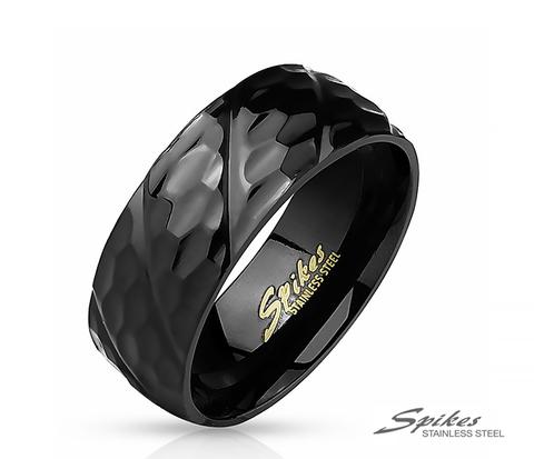 Мужское кольцо из стали черного цвета с рельефным узором, «Spikes»