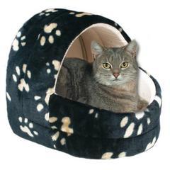 Trixie лежак-пещера для кошки, кошачьи лапки, черный 45 см