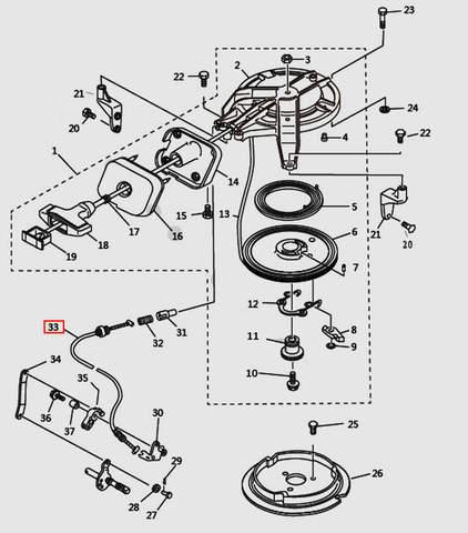 Пружина стопора-упора для лодочного мотора T9.8 Sea-PRO (7-33)