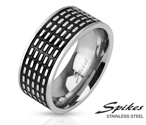 Мужское стальное кольцо с чернением «Spikes»