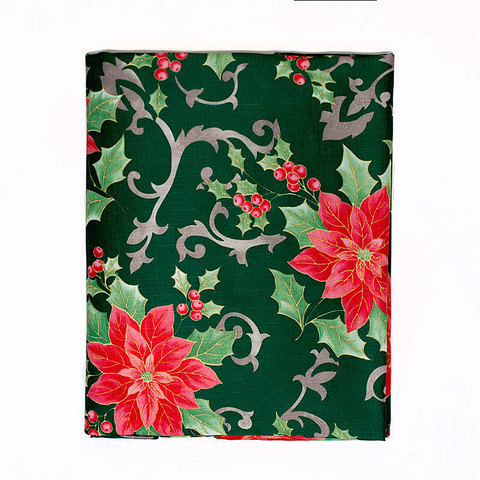 Скатерть 152х213 Carnation Home Fashions Christmas Fabric Tablecloths Poinsettia Floral