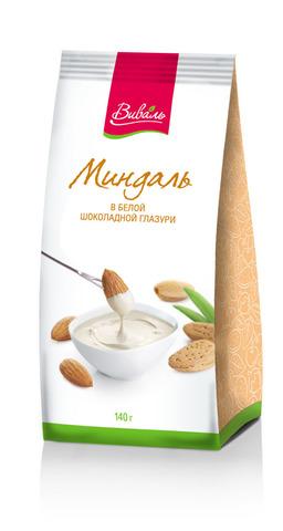 ВИВАЛЬ Миндаль в белой шоколадной глазури 140г
