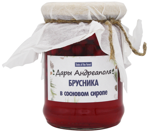 Брусника в сосновом сиропе, Дары Андреаполя, 300 г
