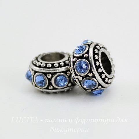 Бусина металлическая - рондель со светло-синими стразами (цвет - античное серебро) 11х6 мм