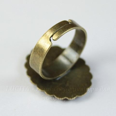 Основа для кольца с сеттингом для кабошона 18х13 мм (цвет - античная бронза)