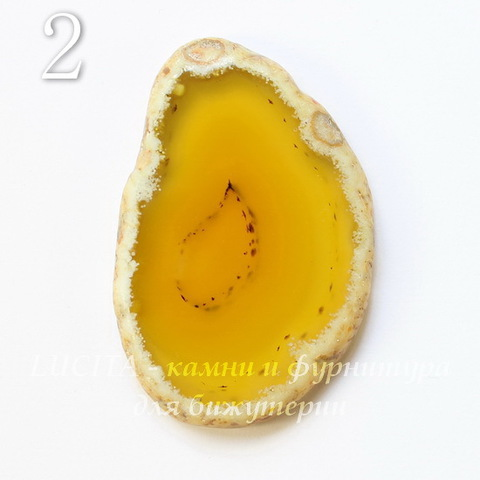 Срез Агата без отверстия (тониров), цвет - желтый, 54-57 мм (№2 (54х35 мм))