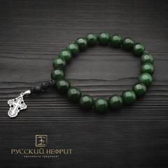 Чётки-браслет православные с крестом. Бусины Д 12мм из зелёного нефрита. 20 шт.