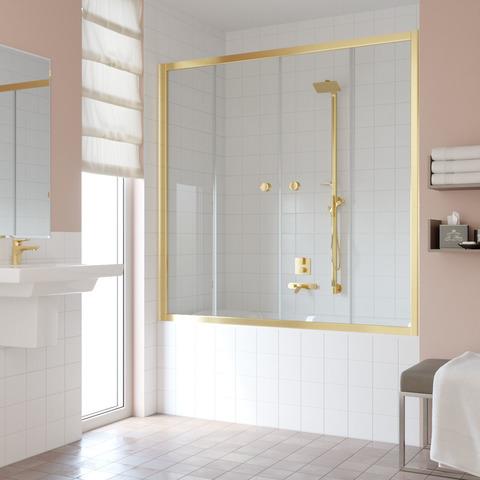 Шторка на ванну Vegas Glass Z2V профиль золото, стекло прозрачное