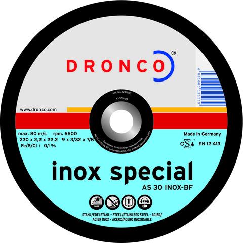 Абразивный отрезной диск Dronco AS 30 INOX  230x2,2