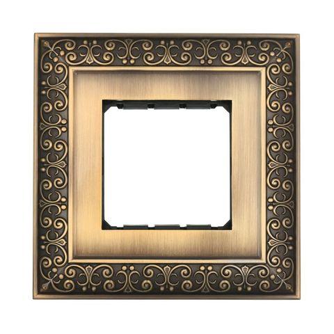 Рамка на 1 пост, декоративная металлическая в комплекте с суппортом. Цвет Бронза. LK Studio LUX (ЛК Студио Люкс). 854120-1