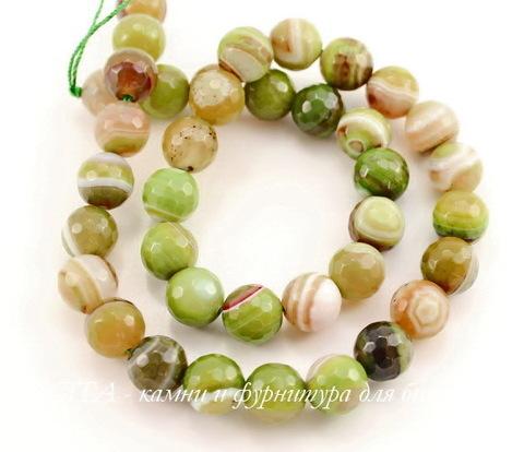 Бусина Агат (тониров), шарик с огранкой, цвет - салатово-оливковый с полосками, 10 мм, нить