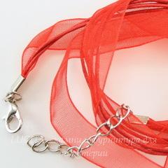 Шнур с замком и цепочкой красный (капрон + вощеный шнур) 42 см