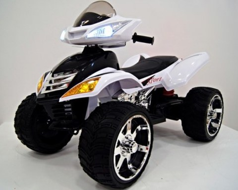 Детский электроквадроцикл Rivertoys Е005КХ белый кожа