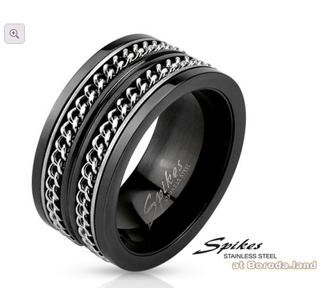 R-M3295 Широкое мужское кольцо «Spikes» черного цвета, сталь