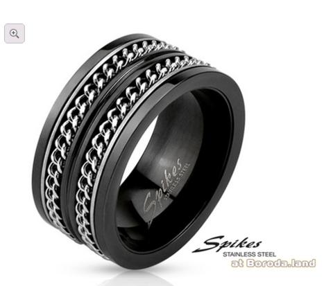 Широкое мужское кольцо «Spikes» черного цвета, сталь