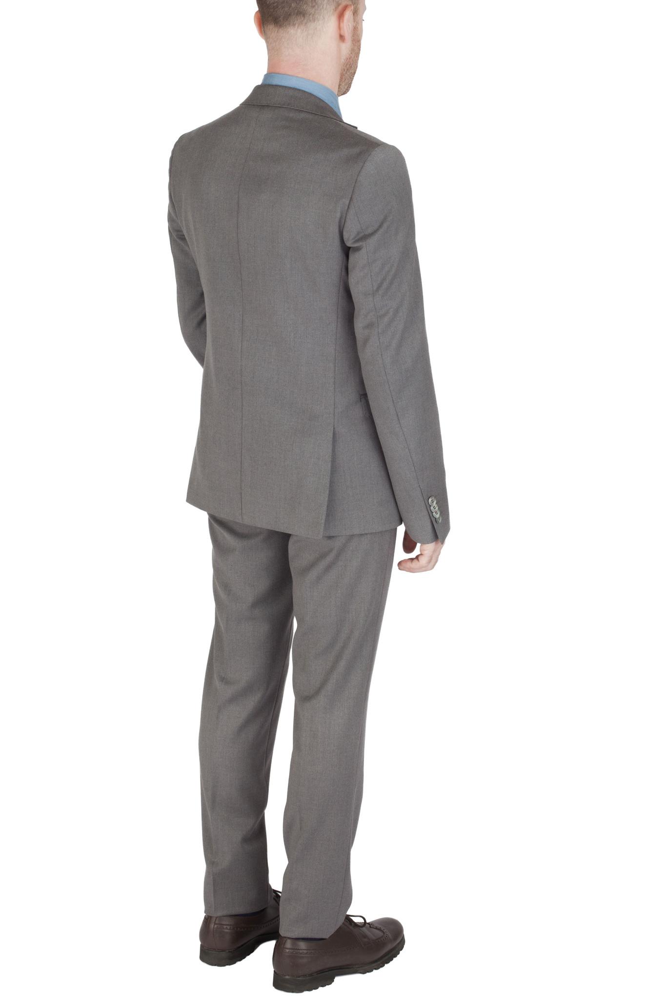 Серый однотонный шерстяной костюм