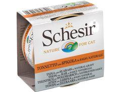 Schesir влажный корм для кошек тунец и окунь в натуральном соусе банка 85 г