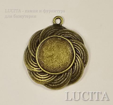 Сеттинг - основа - подвеска 27х23 мм для кабошона или камеи 13 мм (цвет - античная бронза)