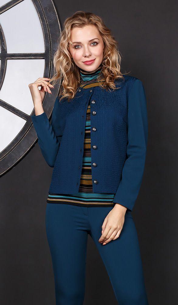 7ea913ec53f Жакет Д547-399 - Стильный жакет модного лазурно-синего цвета классического  прямого силуэта с