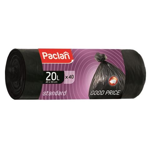 Мешки для мусора ПНД 20л 45x55см 7,3мкм черные 40шт/рул Paclan Standart
