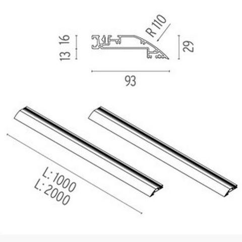 Flos Architectural 08.8720.14 — Встраиваемый профиль LIGHT CUT MINI PROFILE 2 UNIT KIT