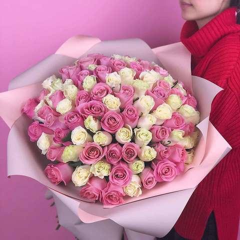 Букет 101 эквадорская роза (бело-розовая) 70 см
