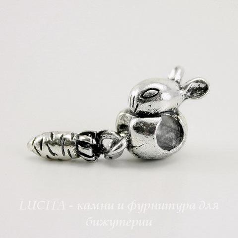 "Бусина металлическая для пандоры ""Заяц"" (цвет - античное серебро) 29х10 мм"
