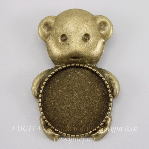 """Основа для броши с сеттингом для кабошона 20 мм """"Мишка"""" (цвет - античная бронза)"""