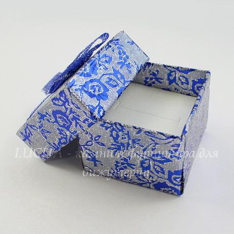 "Подарочная коробочка с бантиком ""Цветы"" (цвет - синий), 40х40х30 мм"