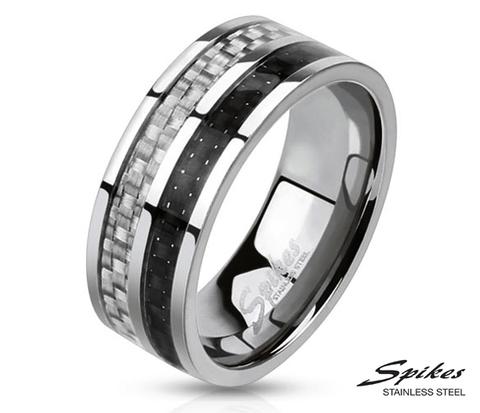 Мужское кольцо «Spikes» с карбоновой вставкой