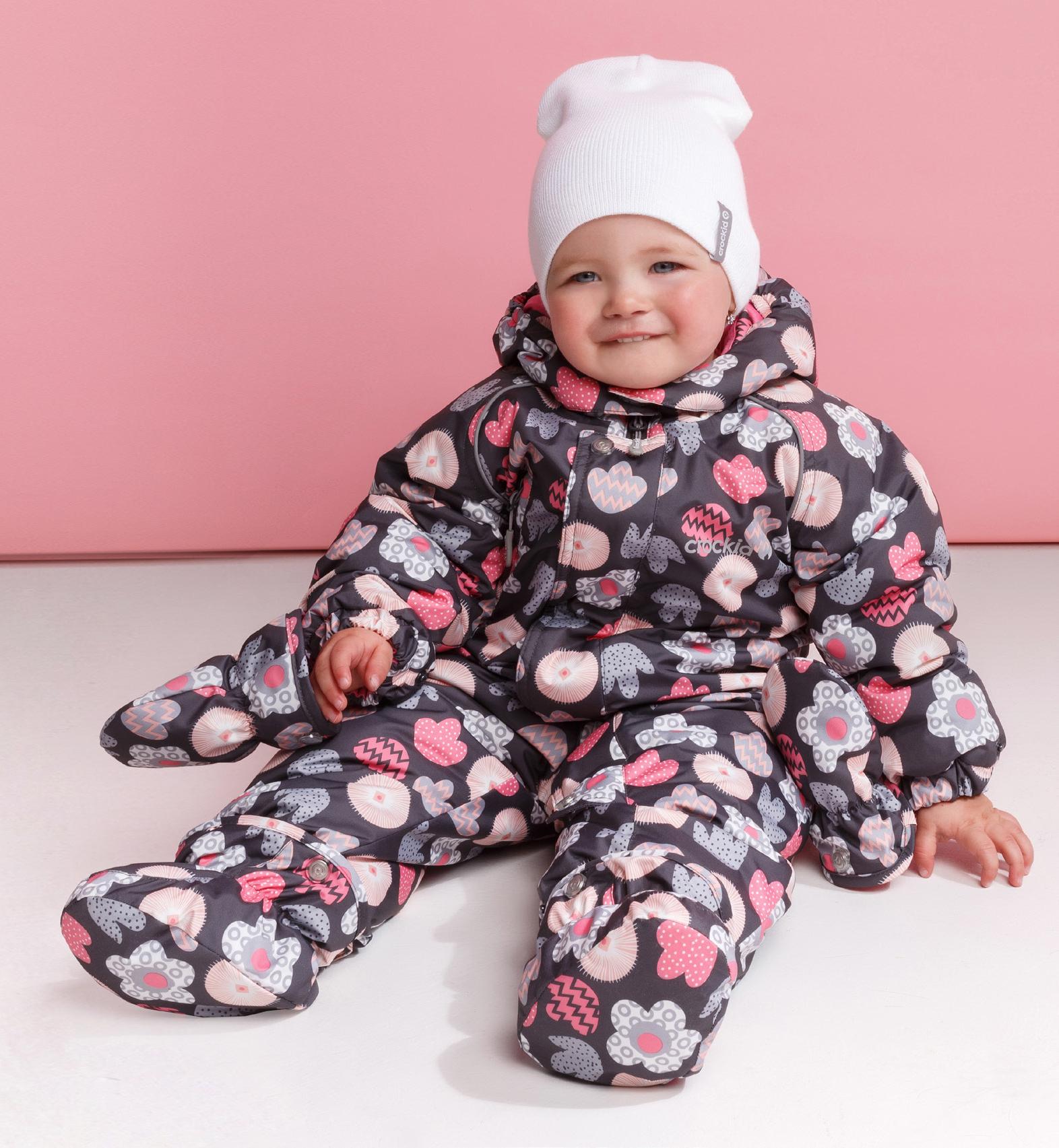 0cc603e687f Детский зимний комбинезон Crockid серый с розовыми цветами - купить ...
