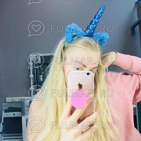 Ободок на голову Единорог с ушками блёстками Голубой