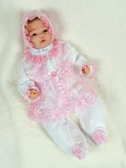 Велюровый наряд на крестины девочке Мари бело-розовый