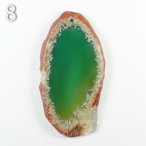Подвеска Срез Агата, цвет - дымчатый зеленый, 61-110 мм (№8 (69х36 мм))