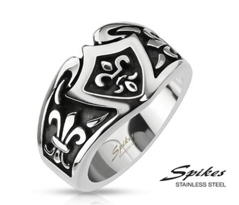 Мужское широкое кольцо с геральдической лилией, «Spikes»