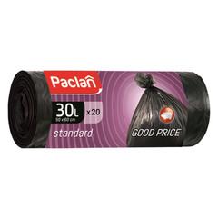 Мешки для мусора ПНД 30л 45x55см 7,3мкм черные 20шт/рул Paclan Standart