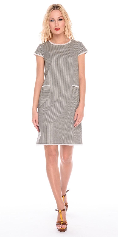Платье З183-590 - Платье свободной формы с маленьким, втачным рукавом. Спереди накладные карманы. Горловина, края рукавов,  входы в карманы и низ обработаны рваным шифоном. Стильное и комфортное, оно станет любимой моделью на лето.