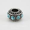 Бусина металлическая - рондель с голубыми стразами (цвет - античное серебро) 11х6 мм