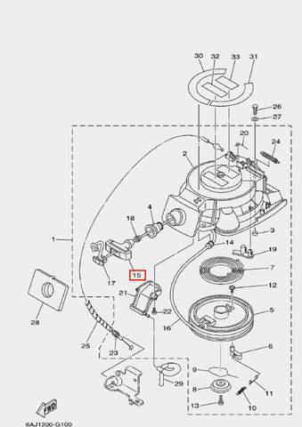 Ручка стартера для лодочного мотора F20 Sea-PRO (10-15)