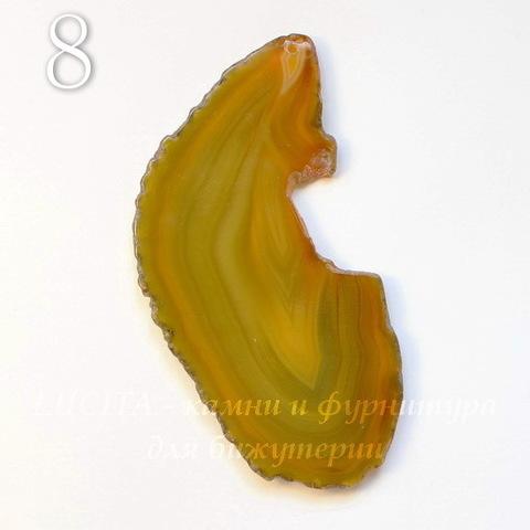Подвеска Срез Агата (тониров), цвет - коричнево-желтый, 64-102 мм (№8 (100х48 мм))